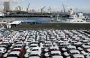 Newly arrived Korean made KIA Sorento SUVs are seen parked at the port of Manila