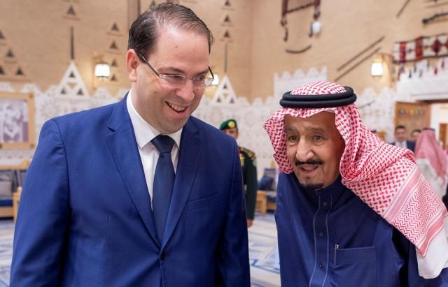 Saudi Arabia's King Salman bin Abdulaziz Al Saud meets withTunisia's Prime Minister Youssef Chahed in Riyadh
